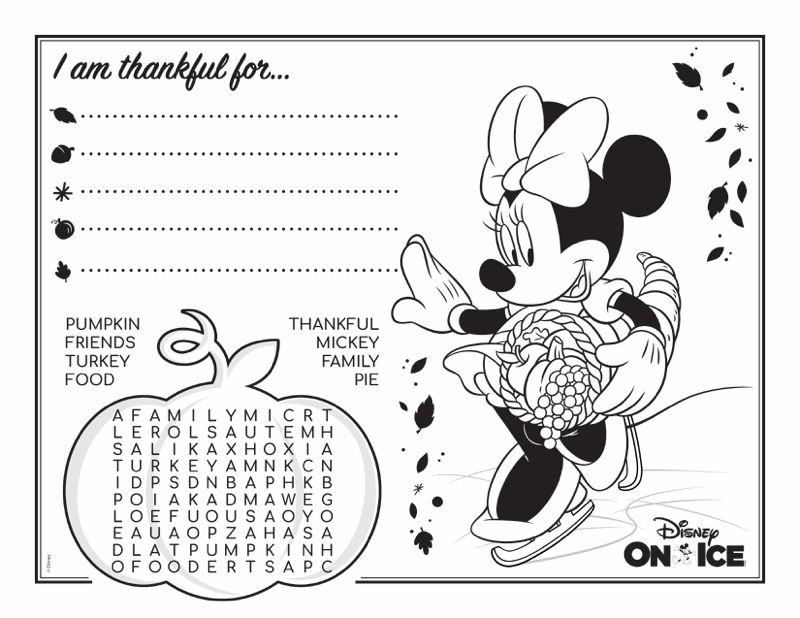 Thanksgiving Activity Placemats - Minnie